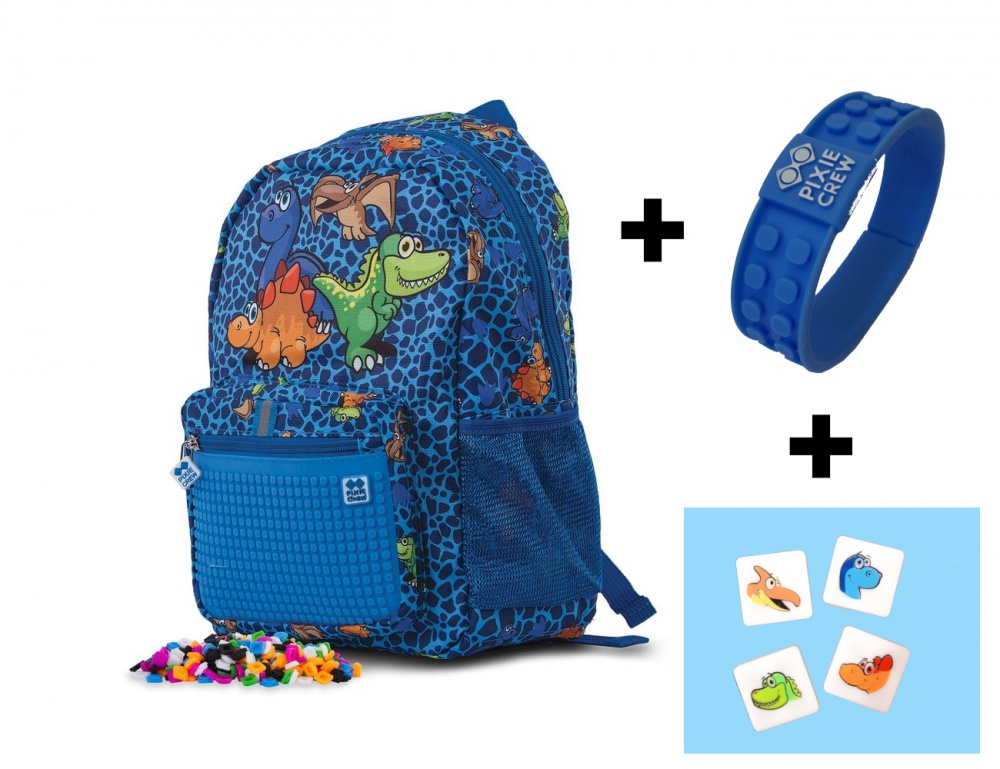 d82cf5fbe Creative pixelated children's backpack Dino PXB-18-90 with bracelet FREE