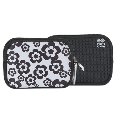 PIXIE CREW creative pixel purse black and white flowers PXA-08-03
