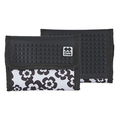 PIXIE CREW creative pixel wallet black and white flowers PXA-10-03