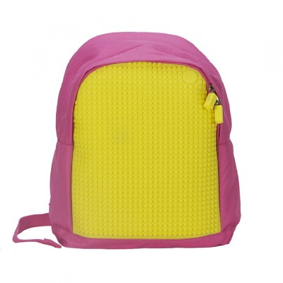 Creative pixelated children's backpack pink/yellow A012