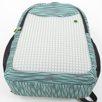 Creative pixelated school backpack with pencil case light blue/grey PXB-16-02