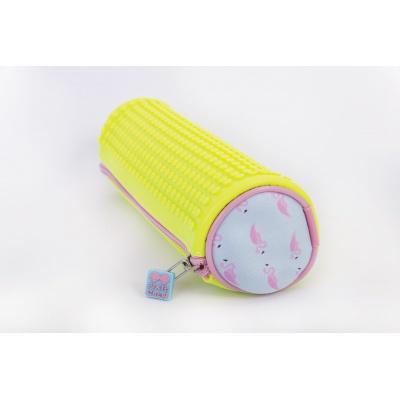 Creative pixelated round school pencil yellow/flamingo PXA-06-14