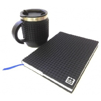 Creative SET pixelated diary with black cover + pixelated thermocup black