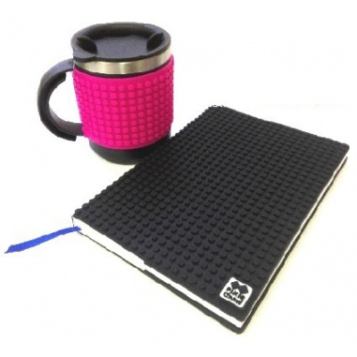 Creative SET pixelated diary with black cover + pixelated thermocup fuchsia