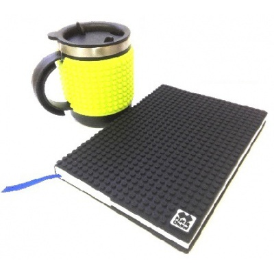 Creative SET pixelated diary with black cover + pixelated thermocup neon green