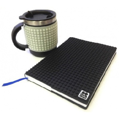 Creative SET pixelated diary with black cover + pixelated thermocup phosphorescent grey