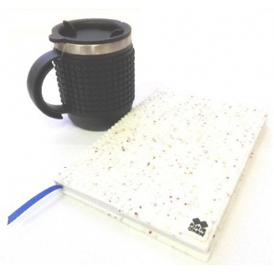 Creative SET pixelated diary with white stars cover + pixelated thermocup black