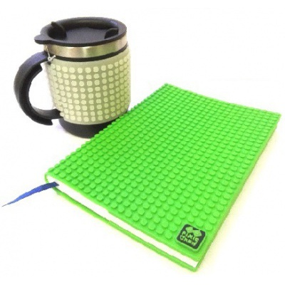 Creative SET pixelated diary with green cover + pixelated thermocup phosphorescent grey