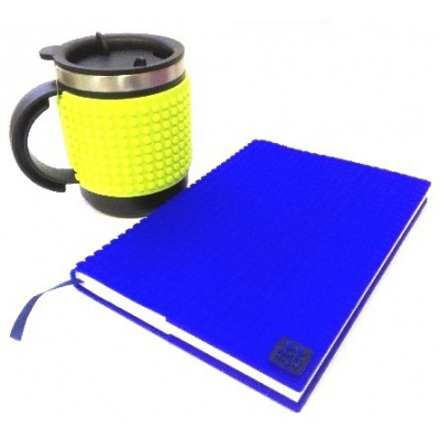Creative SET pixelated diary with blue cover + pixelated thermocup neon green