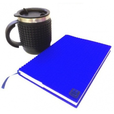 Creative SET pixelated diary with blue cover + pixelated thermocup black