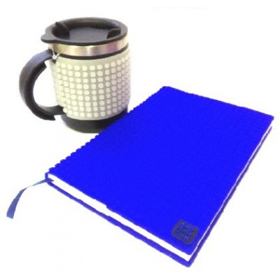 Creative SET pixelated diary with blue cover + pixelated thermocup phosphorescent grey