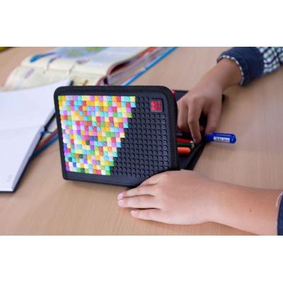 Creative pixelated school pencil case grey checkered PXA-04-K23