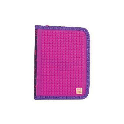 Creative pixelated school pencil case purple alphabet PXA-04