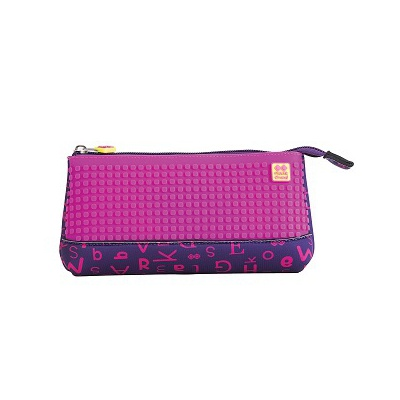 Creative pixelated school pencil case purple alphabet PXA-02