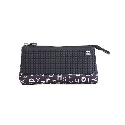 Creative pixelated school pencil case black alphabet PXA-02