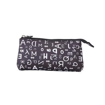 Creative pixelated school pencil case black alphabet PXA-02