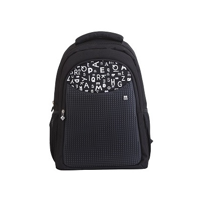 Creative pixelated school bag with pencil case black alphabet PXB-16