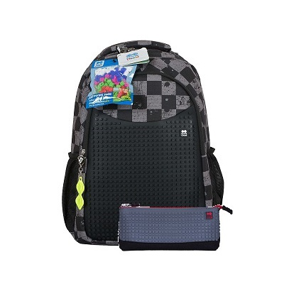 Creative pixelated school backpack with grey checkered/black pencil case PXB-16-06