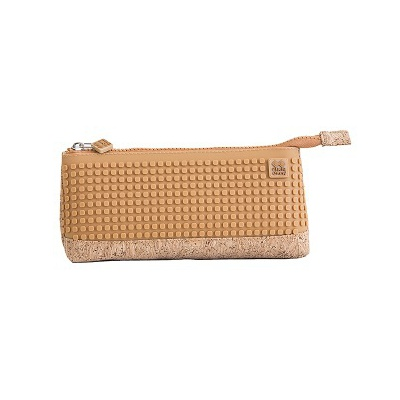 Creative pixelated school pencil case brown/cork PXA-02-CORK
