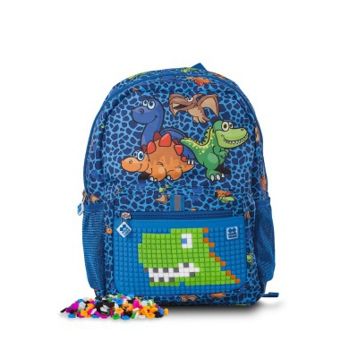 Creative pixelated children's backpack Dino PXB-18-90 with bracelet FREE
