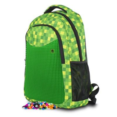 Creative pixelated school backpack with green checkered pencil case PXB-16-08