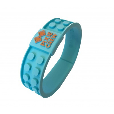 Creative pixelated bracelet turquoise - face