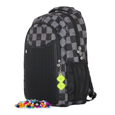 Creative pixelated school bag with pencil case grey checkered/grey PXB-16-07