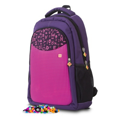 Creative pixelated school bag with pencil case purple alphabet PXB-16
