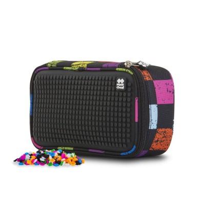 Creative pixelated student pencil case multicoloured checkered PXA-12-Y24