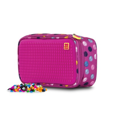 Creative pixelated student pencil case coloured dots/fuchsia PXA-12-G15