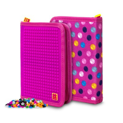 Creative pixelated school pencil case coloures dots/fuchsia PXA-04-G15