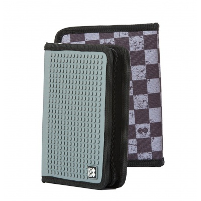 Creative pixelated school pencil case grey checkered PXA-04-K23