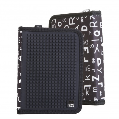 Creative pixelated school pencil case black alphabet PXA-04