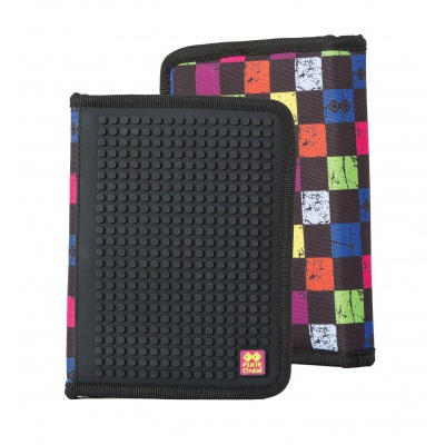 Creative pixelated school pencil case multicoulored checkered PXA-04-Y24
