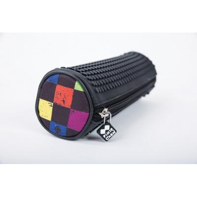 Creative pixelated round school pencil case multicoloured checkered PXA-06-Y24