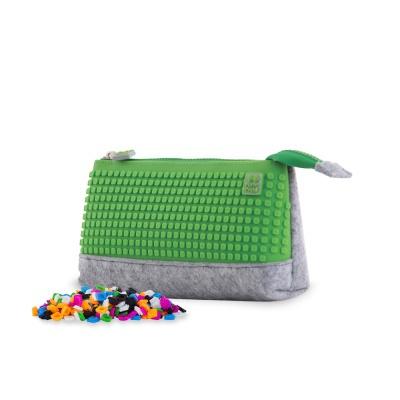 Creative pixelated school pencil case grey/green PXA-01-W07