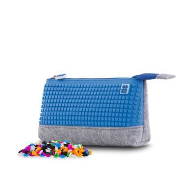 Creative pixelated school pencil case grey/blue PXA-01-W10