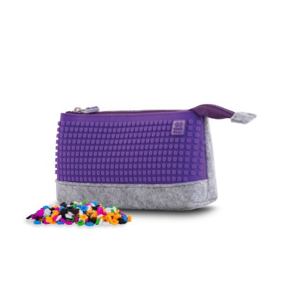 Creative pixelated school pencil case grey/purple PXA-01-W14
