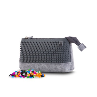 Creative pixelated school pencil case grey/grey PXA-01-W23