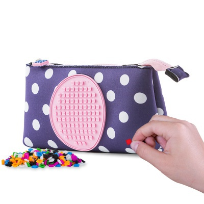 Creative school pixel pencil case blue with polka dots