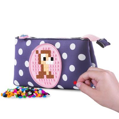 Creative school pixel pencil case blue with polka dots