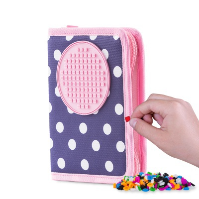 Creative pixelated school pencil case blue with polka dots PXA-04-84