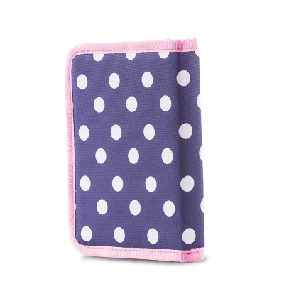 Creative pixelated school pencil case blue with polka dots PXA-04-84