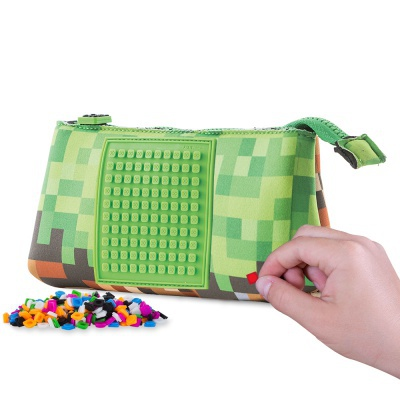 Creative school pixel pencil case PXA-02-83 green/brown