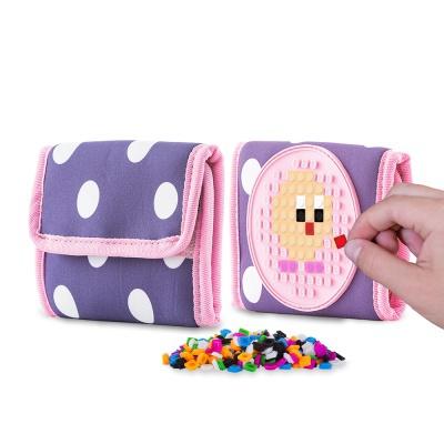 Creative pixelated purse PIXIE CREW blue with polka dots PXA-10-84